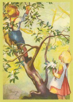 Martta Wendelin Finnish artist who has drawn many postcards Cottage Art, Children's Book Illustration, Illustration Children, Christmas Art, Illustrations Posters, Vintage Illustrations, Vintage Children, Vintage Postcards, Martini