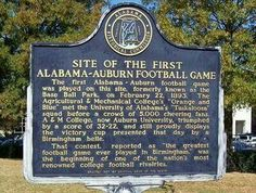 Site of the first Alabama -Auburn  Football game