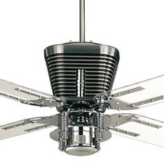 """Quorum HARLEY Ceiling fan 52"""" CHROME With Light  -  Retro Collection 