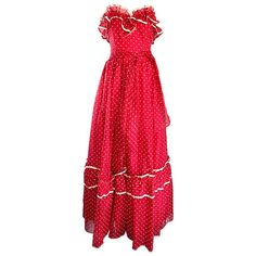 1970s Red and White Polka Dot Vintage 70s Strapless Chiffon Belted Maxi Dress | From a collection of rare vintage day dresses at https://www.1stdibs.com/fashion/clothing/day-dresses/