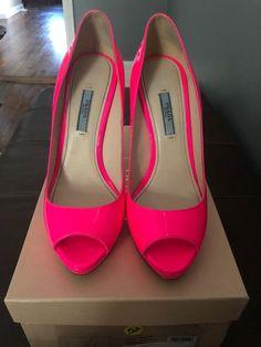 908b4738ba95 Prada Womens Pumps Size 39 Hot Pink Patent Leather High Slim Heel Peep Toe   fashion