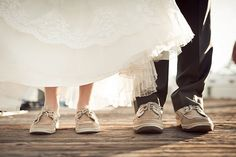 Bride & Groom matched their shoes for a vintage nautical themed wedding