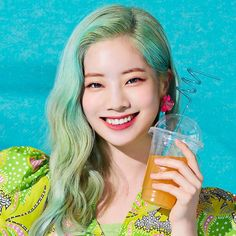 "Dahyun -TWICE, ""Happy Happy"", personal photo published-Debak. There has to be alcohol in this drink judging by her Happy Happy smile . Nayeon, The Band, K Pop, Twice Members Profile, Twice Group, Twice Album, Twice Korean, Twice Once, Twice Dahyun"
