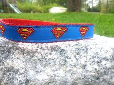 Blue Man Of Steel 3/4 Inch Width Dog Collar by WillyWoofs on Etsy, $17.00