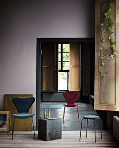 Arne Jacobsen's Series 7 chair and Dot stool now available in velvet