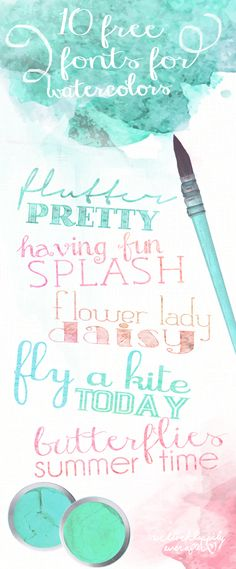 It's been a long time since I've done a font post- so I whipped this fun & colorful font collection last night for ya'll! Let me clarify, these fonts don't type in watercolor. you have to rastorize them in order to add that effect, but it is SO easy. Pretty Fonts, Beautiful Fonts, Fancy Fonts, Cool Fonts, Free Watercolor Font, Fonts Letras, Typographie Fonts, Clip Art, Calligraphy Fonts