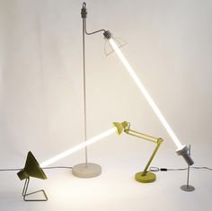 Vienna designers Mischer'Traxler have created a series of lights where two found lamps share one fluorescent bulb.