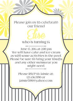 Gray and Yellow Customized Birthday Party Invitation by susieandme, $12.00