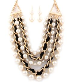 INTERLACED CHAINS AND PEARLS LAYERED NECKLACE EARRINGS SET (BLACK) - $27