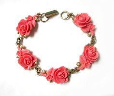 Vintage Pink Rose Bracelet Vintage Roses Celluloid by SoBejeweled