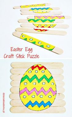 Wielkanocne puzzle DIY Easter Egg Craft Stick Puzzle / Easter jigsaw puzzle with wooden spatula Easter Arts And Crafts, Easter Crafts For Kids, Toddler Crafts, Summer Camp Crafts, Camping Crafts, Spring Crafts, Toddler Fine Motor Activities, Easter Activities, Easter Puzzles