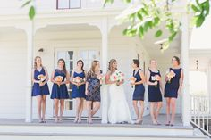 Bride with bridesmaids in navy | Heather Scharf Photography | see more at http://fabyoubliss.com
