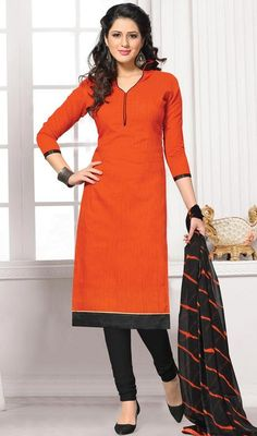 Encapsulate a stylish elegance that looks completely effortless with this orange color cotton Indian churidar dress. The lace and resham work personifies complete look. #orangecolorchuridardress #churidarsuits #fashionablecottondresscollection