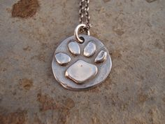 Sterling Silver Necklace Cat or Dog Paw Print by whatagoodgirl, $52.00