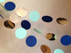 Navy Blue Gold and Mint Paper Garland Birthday by PartyMadePretty Diff. colors. Home make?!
