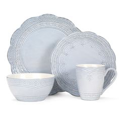 Celebrate the tranquil elegance of classic style with Serephina dinnerware. The pale blue color is a beautiful backdrop for traditional pieces with an eye-catching design that combines scalloped edges, varying beaded patterns, and filigree accents. This collection will make a bold yet understated statement on any tabletop. Crafted of stoneware, featuring a reactive glaze. Due to the nature and hand-crafted qualities of reactive glaze, no two pieces are exactly alike and will exhibit unique…