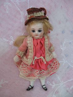 Small French All Bisque with Swivel Neck Dolls And Lace.com