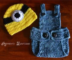 Crochet Minion Hat & Overalls by AmandasBoutique2 on Etsy, $25.00