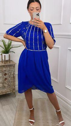 Royal blue dress, graduation dress, occassion dress, royal blue outfit, occassion wear, midi dress Royal Blue Outfits, Embellished Dress, Occasion Wear, Online Boutiques, Blue Dresses, Fashion Online, Short Sleeves, High Neck Dress, Bleach