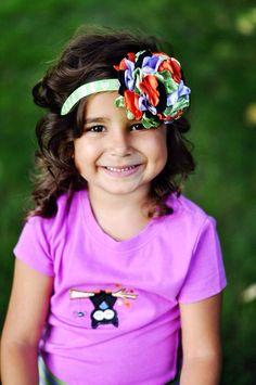Halloween Flower Headband-Newborn Headband-Baby Headband-Baby Girl Headbands-Baby Hair Accessories-Toddler Hair Bows-Baby Couture Headband by LosBowtique on Etsy https://www.etsy.com/listing/201913772/halloween-flower-headband-newborn
