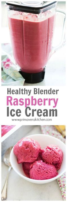 Healthy Blender Raspberry Ice Cream - This Healthy Blender Raspberry Ice Cream is made with Greek yogurt, honey and raspberries and bananas. It is gluten-free and refined sugar-free. It is creamy and delicious!