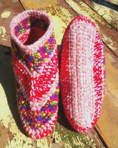 Beautiful Bright Booties, Made to Order in your size and colour. Slipper socks.