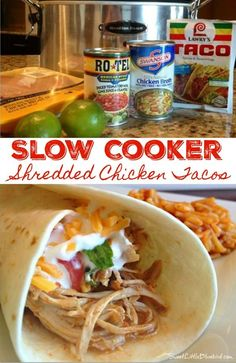 Lower Excess Fat Rooster Recipes That Basically Prime Slow-Cooker Shredded Chicken Tacos And Burritos - Just A Few Ingredients To Make, So Simple, So Good. The Only Way I Make Chicken Tacos And Burritos Tender, Juicy, Delicious Slow Cooker Shredded Chicken, Slow Cooker Chicken Tacos, Chicken Taco Recipes, Crock Pot Tacos, Mexican Food Recipes, Chicken Cooker, Shredded Chicken For Tacos, Crockpot Chicken For Tacos, Healthy Shredded Chicken Recipes