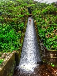"This shot is often called ""Canal Water Slide - Bali, Indonesia"". It is Waipio, Hawaii Places Around The World, Oh The Places You'll Go, Places To Travel, Places To Visit, Travel Destinations, Holiday Destinations, Dream Vacations, Vacation Spots, Vacation List"