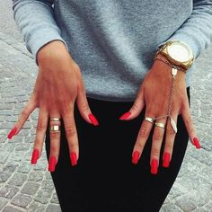 Long Red Matte Nails with Gold Jewelry