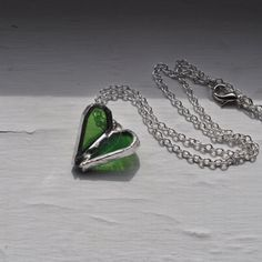 Flying Heart Necklace in green stained glass by ABJglassworks, $15.00
