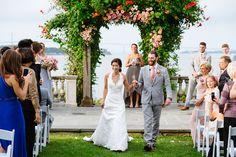 Outdoor wedding ceremony at Castle Hill Inn, Newport Rhode Island.