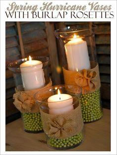 Spring Hurricane vases with burlap rosette by bernice