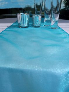 Organza Table Runner - Perfect color for a Frozen Birthday Party Table Runner And Placemats, Table Runner Pattern, Quilted Table Runners, Paper Lantern Store, Paper Lanterns, Cheap Lanterns, Winter Party Decorations, Table Decorations, Reception Decorations