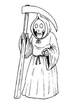 Un fantôme armé de sa faucheuse à colorier.
