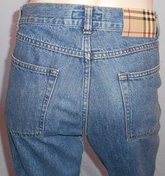 "$22.39 & Free Shipping! Burberry London 30R 32""Waist X 33""Inseam Button Fly Straight Leg Blue Jeans  #BurberryLondon #StraightLeg"