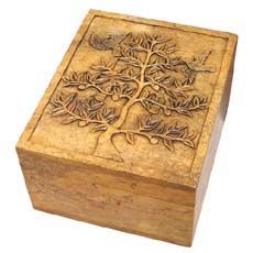 Tree of Life Box  Carved stone box holds your treasures or makes a beautiful gift. Stone carvers in Vietnam carve this intricate Tree of Life design in soapstone, polish the design until smooth, and finish it with a color stain to accentuate the detail.  From Ten Thousand Villages