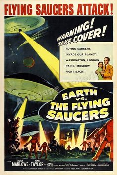 1956 Earth vs. The Flying Saucers Classic Sci-Fi Monster Movie Poster - 24x36 #Vintage