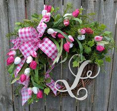 Tulip Wreath Monogram Wreath Gingham Wreath Tulips Wreath