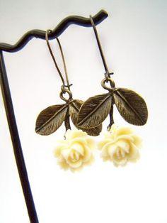 Vintage Inspired Earrings - Ivory Roses & Antiqued Brass Leaves