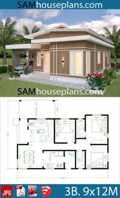 House Plans 9x12 with 3 bedrooms roof tiles - Sam House Plans