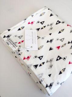 Organic cotton bamboo fleece crib blanket, triangles, cloud 9 fabrics by ArcherandAntlers on Etsy