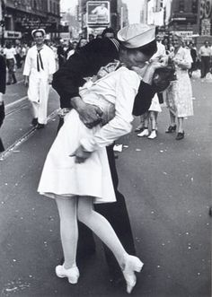 V-J Day in Times Square is a photograph by Alfred Eisenstaedt that portrays an American sailor kissing a young nurse in a white dress on Victory over Japan Day (V-J Day) in Times Square, New York City, on August 14, 1945. The photograph was published a week later in Life magazine among many photographs of celebrations around the country that were presented in a twelve-page section called Victory