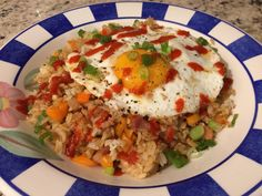 #manikinhead #food Fried Rice using leftover Ham topped with Egg and Sriracha. [homemade]