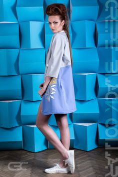 Long jacket, half grey half blue, with geometric white and yellow flowers. Order via facebook, pm or e-mail. Long Jackets, Yellow Flowers, Geometric Shapes, Pastel, High Neck Dress, Spring Summer, Facebook, Grey, Blue