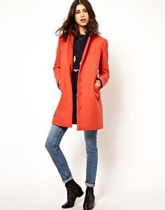 Paul And Joe Sister Crombie Coat In Coral Wool With Tiger Lining