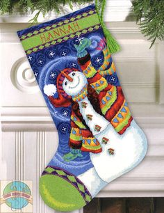 cross stitch patterns for christmas stockings | ... needlepoint stitched with…