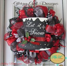 Let is Snow Christmas deco mesh wreath by GlitzyGirlDesigns, $110.00