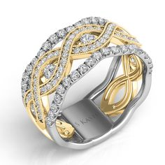 White & Yellow Gold Pave Band style number D4195YW.