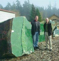 18 ton Nephrite Jade boulder found in Canada in 2000.Considered the world's largest piece of pure Jade.: