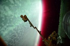 Aurora in green and red from International Space Station